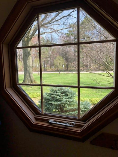 wooden octagon accent window