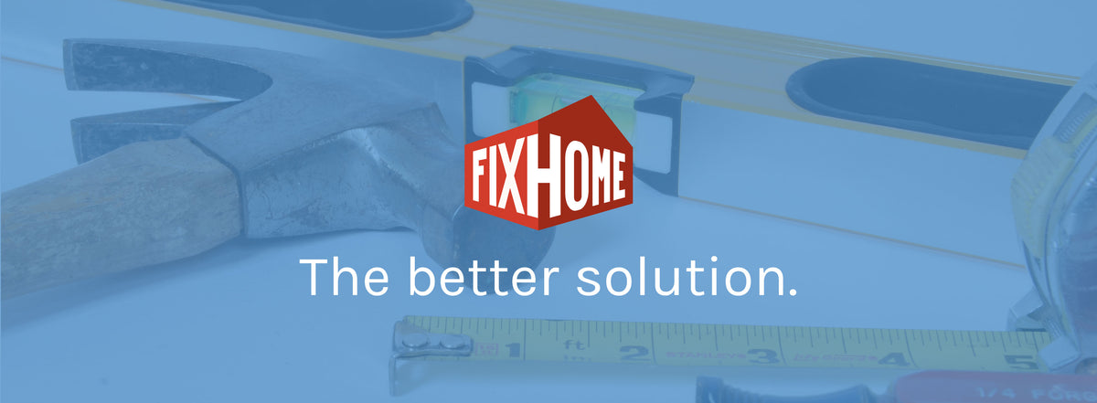 Fixhome Logo with tools in background.