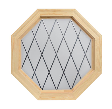 Olde England Diamond Lead Tape Wood Stationary Octagon Window Clear IG Glass