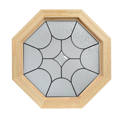 Diamond Light Patina Zinc Leaded Wood Octagon Window