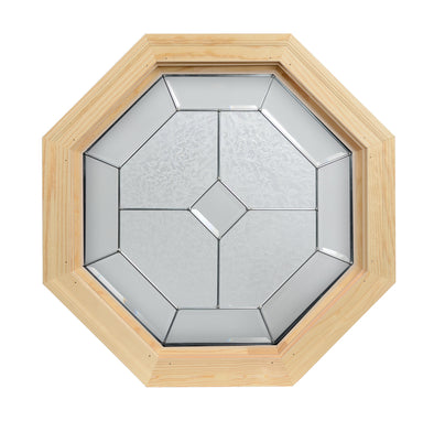 Dominican Natural Zinc Camed Wood Stationary Octagon Window