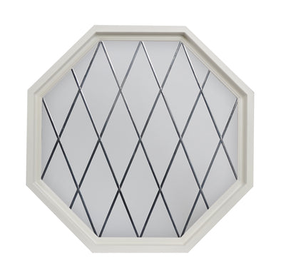 Olde England Diamond Lead Tape White Poly Stationary Octagon Window with Clear IG Glass