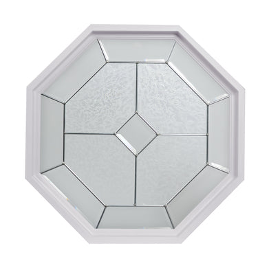 Dominican Natural Zinc Camed White Poly Stationary Octagon Window