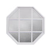 Rambler White Poly Stationary Octagon Window Obscure IG Glass With White Grille In Glass