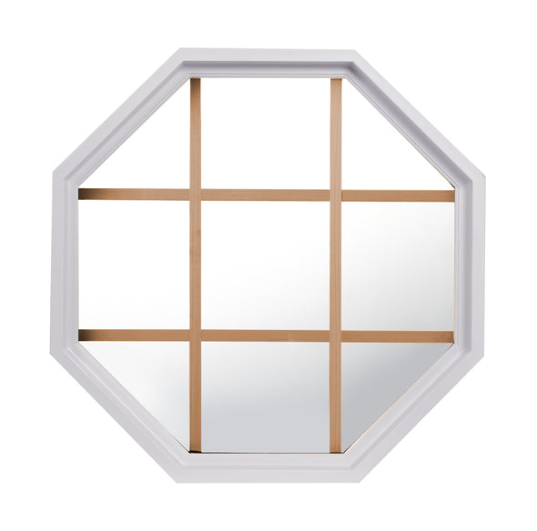 Rambler White Poly Stationary Octagon Window Clear IG Glass With Pine Removable Grille