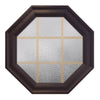 Town Light Bronze Poly Brickmould Stationary Octagon Window Obscure IG Glass 9 Light Pine Removable Grille