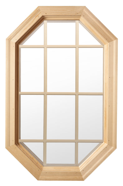 Tall Cabin Light Wood Stationary Octagon Window Clear IG Glass