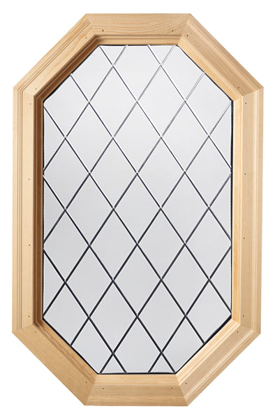 Tall Olde England Diamond Lead Tape Wood Stationary Octagon Window Clear IG Glass Hinged Left
