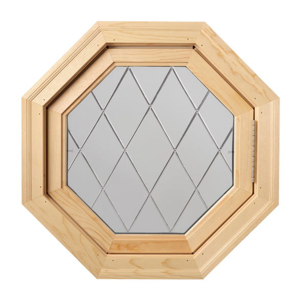 Olde England Diamond Lead Tape Wood Venting Octagon Window Hinged Right with Clear IG Glass