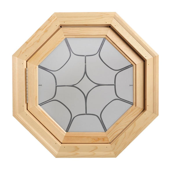 Star Light Decorative Lead Tape Wood Venting Octagon Window Hinged Left Clear IG Glass