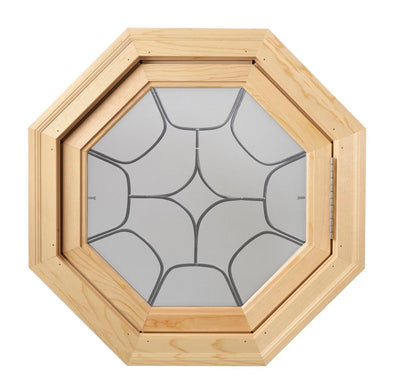 Star Light Decorative Lead Tape Wood Venting Octagon Window Hinged Right Clear IG Glass