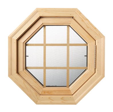 Cabin Breeze Wood Vent Octagon Clear IG Pine Grille Right Hinge