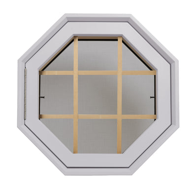Rambler Breeze White Poly Venting Octagon Window Clear IG Glass With Pine Removable Grille Hinge Left