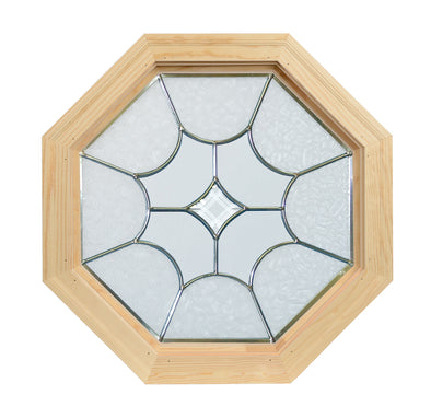 Diamond Light Natural Zinc Leaded Wood Octagon Window