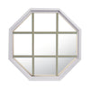 Rambler White Poly Stationary Octagon Window Clear IG Glass With Sand Grille In Glass
