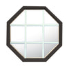 Rambler Bronze Poly Stationary Octagon Window Clear IG Glass With White Grille In Glass