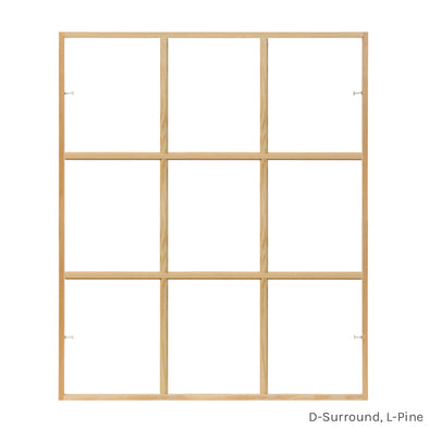 9 light square pine colonial window grid insert for casement and double hung windows