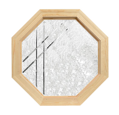 Misty Trail Decorative V-Groove Carved Obscure Wood Octagon Window