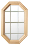 Tall Cabin Light Wood Stationary Octagon Window Clear IG Glass 12 light Sand Grille In Glass