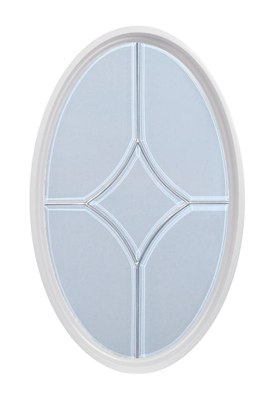 Orion White Clad Poly Oval Window with Natural Zinc 5 light Leaded Glass