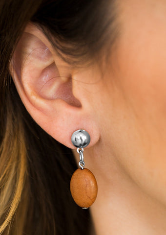 Paparazzi Accessories Stone Cliff Brown Post Earrings