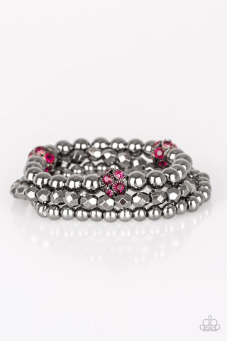 Paparazzi Accessories Noticeably Noir Pink Bracelets