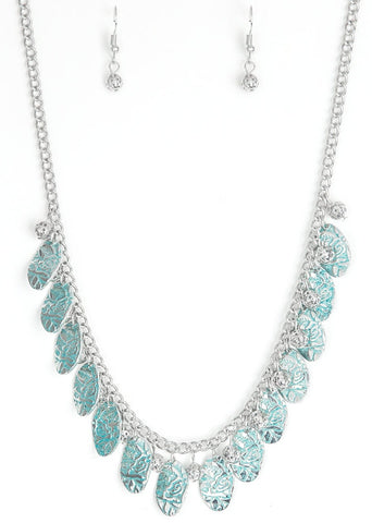 Paparazzi Accessories Vintage Gardens Blue Necklace Set