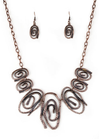 Paparazzi Accessories My Cave Is Your Cave Copper Necklace Set