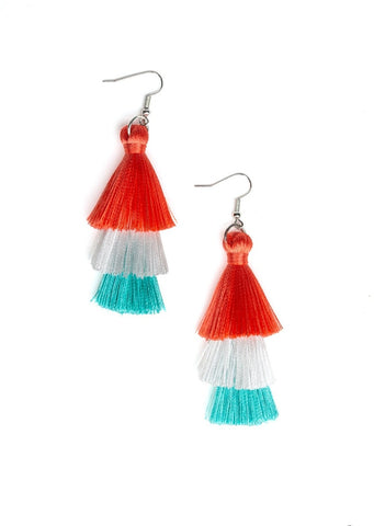 Paparazzi Accessories Hold On To Your Tassel Orange Earrings