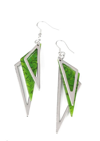 Paparazzi Accessories Evolutionary Edge Green Earrings