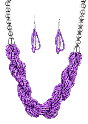 Paparazzi Accessories Savannah Surfin  Purple Necklace Set