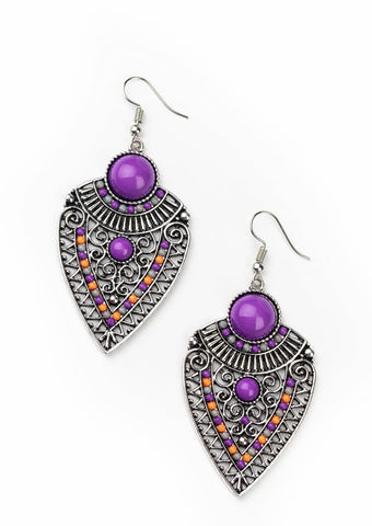 Paparazzi Accessories Tribal Territory Purple Earrings