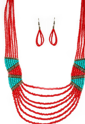 Paparazzi Accessories Kickin It Outback Red Necklace Set
