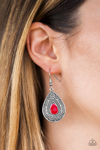 Paparazzi Accessories Desert Storm Red Earrings