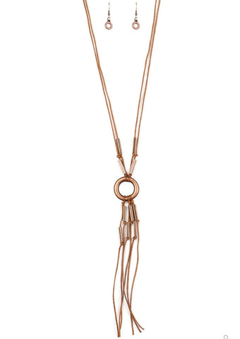 Paparazzi Accessories Tasseled Trinket Copper Necklace Set