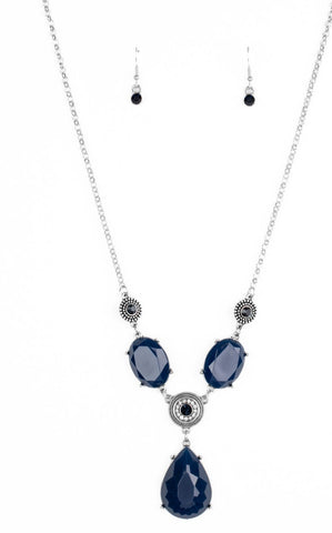 Paparazzi Accessories Heirloom Hideaway Blue Necklace Set
