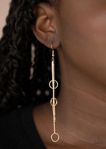 Paparazzi Accessories Full Swing Shimmer Gold Earrings