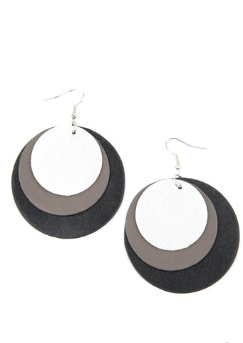Paparazzi Accessories LEATHER Forecast Black Earrings