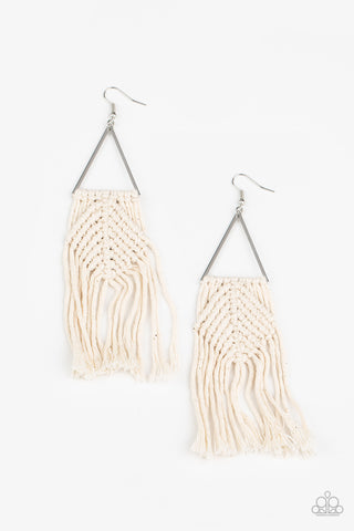 Paparazzi Accessories Macrame Jungle White Earrings