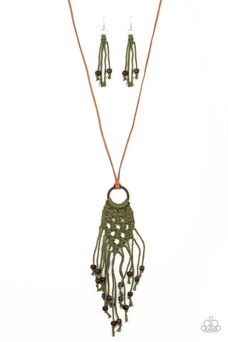 Paparazzi Accessories It's Beyond MACRAME! Green Necklace Set