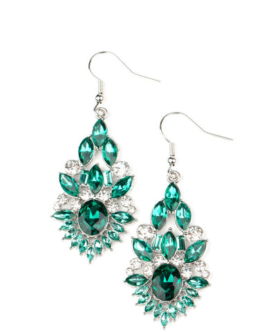 Paparazzi Accessories Ice Castle Couture Green Earrings