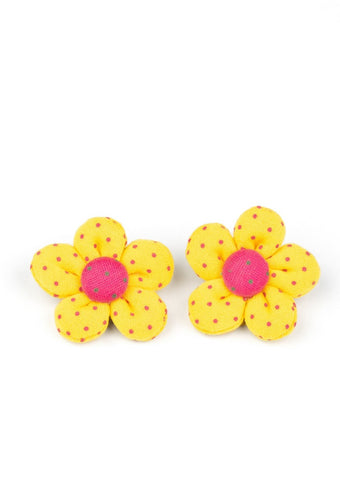 Paparazzi Accessories Polka Dotted Delight Yellow Hair Clip