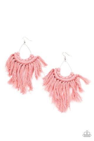 Paparazzi Accessories Wanna Piece Of MACRAME? Pink Earrings