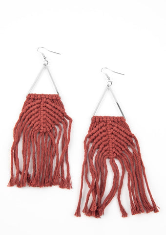 Paparazzi Accessories Macrame Jungle Brown Earrings