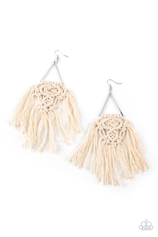Paparazzi Accessories Modern Day Macrame White Earrings