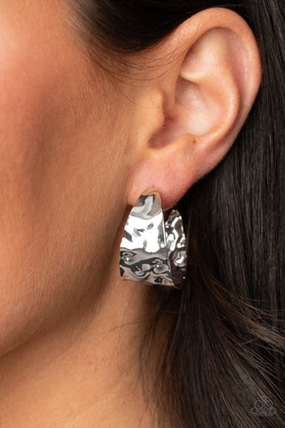 Paparazzi Accessories Put Your Best Face Forward Silver HOOP Earrings