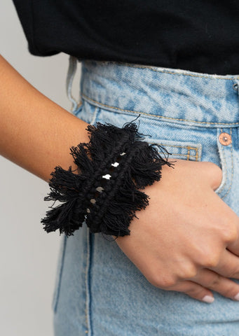 Paparazzi Accessories Homespun Hardware Black Bracelet