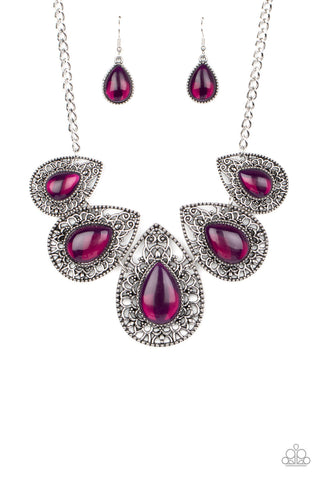 Paparazzi Accessories Opal Auras Purple Necklace Set