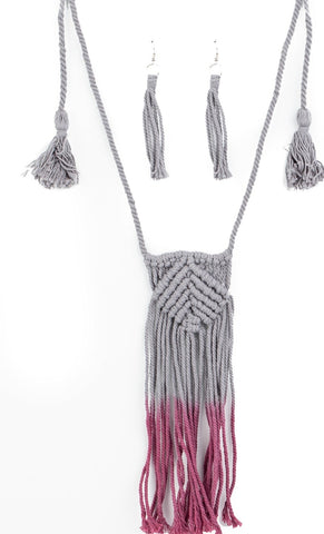 Paparazzi Accessories Look At MACRAME Now Purple Necklace Set