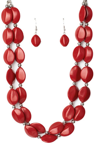 Paparazzi Accessories Two-Story Stunner Red Necklace Set